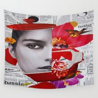 cook Wall Tapestries featuring Let's cook you by Kiki collagist