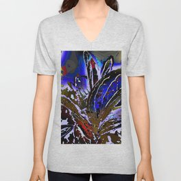 Vivid Foliage in blue Unisex V-Neck