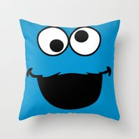 cookie monster Throw Pillows featuring Cookie Monster by Adel