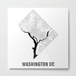 Washington DC Map B&W Metal Print