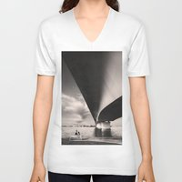 bridge V-neck T-shirts featuring Bridge by Cwenar