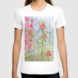 Watercolor Garden Flowers Summer Botanical Illustration T-shirt