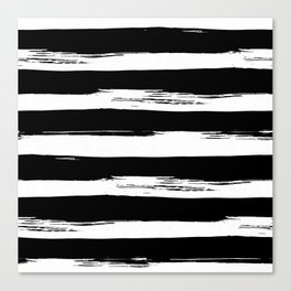 Paint Stripes Black and White Canvas Print