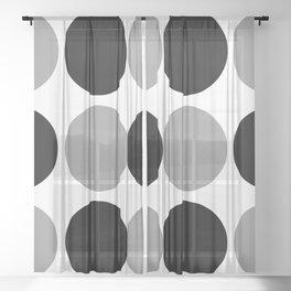 Mid Century Modern Polka Dot Pattern 9 Black and Gray Sheer Curtain