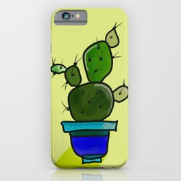 Cheerful Succulents Green on Yellow #Nature #Whimsical iPhone Case