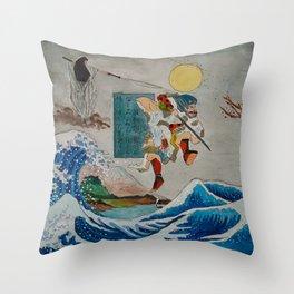 Tadatsune's Journey to Mount Fuji Throw Pillow