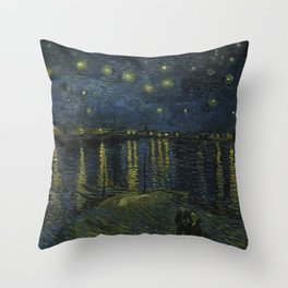 Starry Night Over the Rhone by Vincent van Gogh Throw Pillow