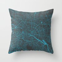 berlin Throw Pillows featuring Berlin by Map Map Maps