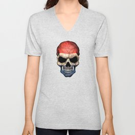 Dark Skull with Flag of The Netherlands Unisex V-Neck