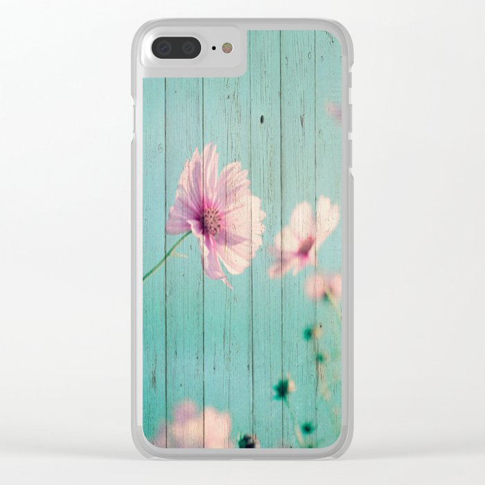 Sweet Flowers on Wood 07 Clear iPhone Case