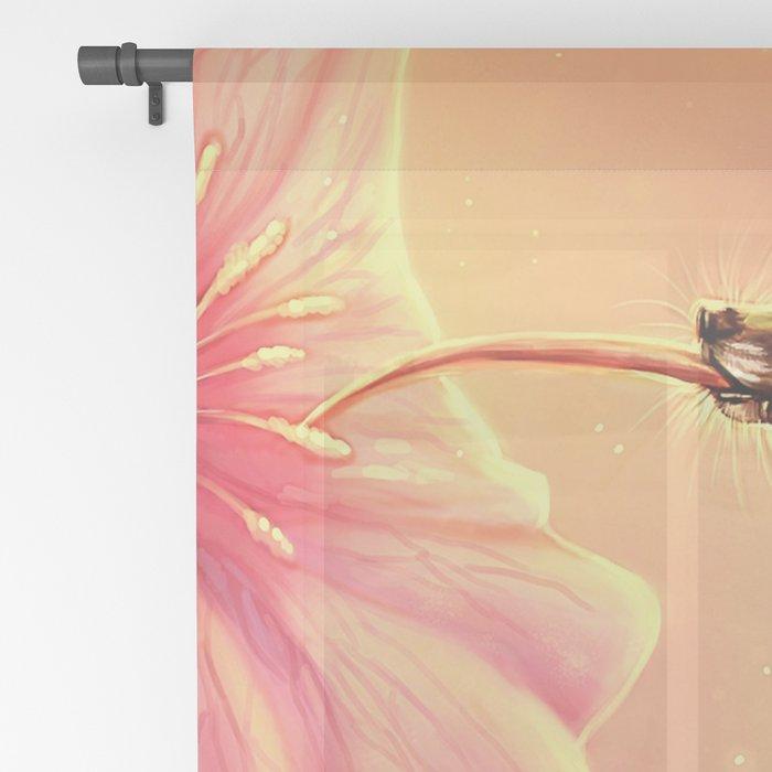 Gorgeous Colorful Fairytale Hummingbird Creature Licking Blossom Juice UHD Sheer Curtain