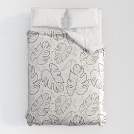 Monstera deliciosa leaves / Minimalist and simple black and white pattern / Tropical Comforters