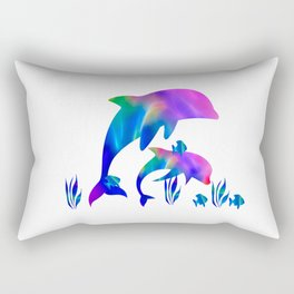 Rainbow Dolphins swimming in the sea Rectangular Pillow