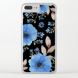 Blue flowers with black Clear iPhone Case