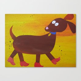 Dog in clogs -  animal rhymes - made from recycled math bk drafts Canvas Print