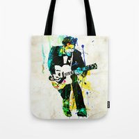 chuck Tote Bags featuring chuck berry by manish mansinh