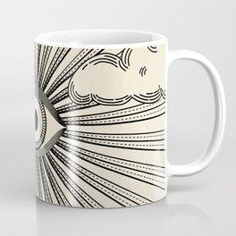 Radiant eye minimal sky scene with clouds - black lines on neutral Coffee Mug