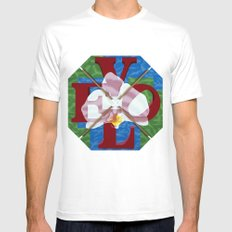Orchid Love Letters White Mens Fitted Tee MEDIUM
