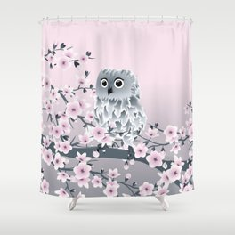 Cute Owl and Cherry Blossoms Pink Gray Shower Curtain