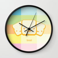 bread Wall Clocks featuring Bread by The Little Prints