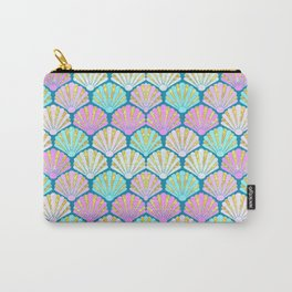 seashells in pink and teal, perfect for a mermaid Carry-All Pouch