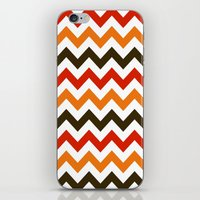 thanksgiving iPhone & iPod Skins featuring Thanksgiving Chevron by Designs By Misty Blue (Misty Lemons)