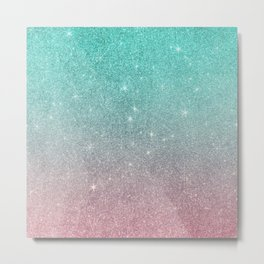 Modern abstract turquoise pink ombre elegant glitter Metal Print
