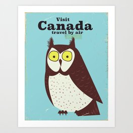 Canada Owl vintage poster Art Print