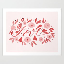 Love and flowers - living coral Art Print
