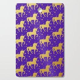 Purple and Gold Unicorn and Stars Pattern Cutting Board