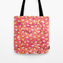 Cute and Dreamy Leopard Golden Spots Pink Print Tote Bag