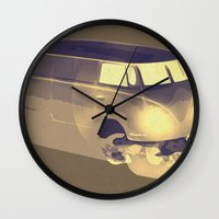 volkswagen Wall Clocks featuring Skull Volkswagen by Bright Enough💡