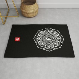 Taoist Mandala - White on Black Rug