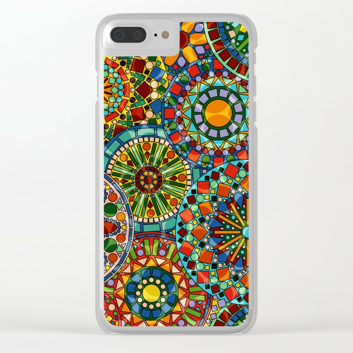 Cheerful Circles Clear iPhone Case