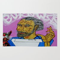 bukowski Area & Throw Rugs featuring Bukowski by Pluto00Art / Robin Brennan