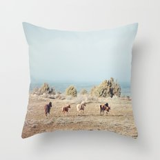 Oregon Wilderness Horses Throw Pillow