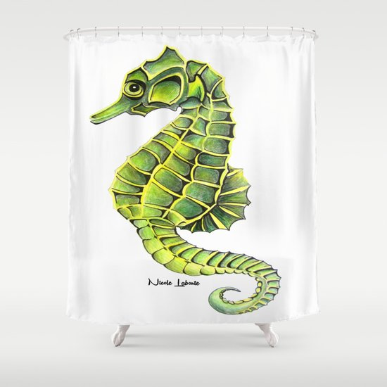 Sea Horse Green Yellow Sea Life Ocean Underwater Creature Shower Curtain By Treelovergirl Society6