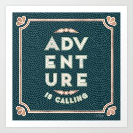 Adventure is Calling Mosaic – Mint & Teal Palette Art Print