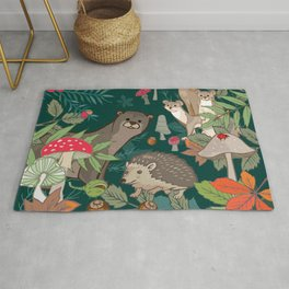 Animals In The Woods Rug