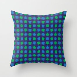Double Blue and Green 11 Point Stars Throw Pillow