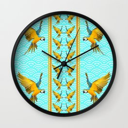 GOLD & BLUE TROPICAL MACAWS VERTICAL ART Wall Clock