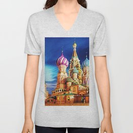 St. Basil's Cathedral, Moscow landscape painting by Jeanpaul Ferro Unisex V-Neck