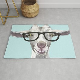 Goat with Glasses, Cute Farm Animal Rug