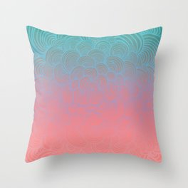 Ombre Clam Shells - Mint, Peach, Purple and Pink Throw Pillow