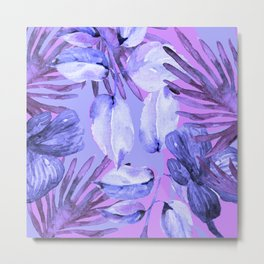TROPICAL FERNS AND FLOWERS IN SHADES OF mid blue, purples and navy blue Metal Print