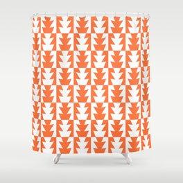 Art Deco Jagged Edge Pattern Orange Shower Curtain