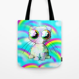 curly kawaii pet on rainbow and cloud background Tote Bag