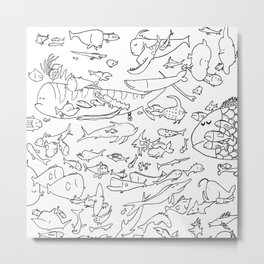 Fish Outline Metal Print