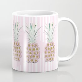 Floral Pineapple Stripes Pink Coffee Mug