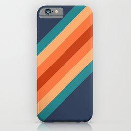 Blue & Orange Retro Stripes iPhone Case